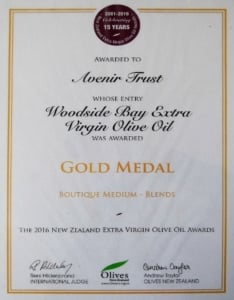 2016 NZ Extra Virgin Olive Oil Awards Gold Medal Certificate Woodside Bay Extra Virgin Olive Oil