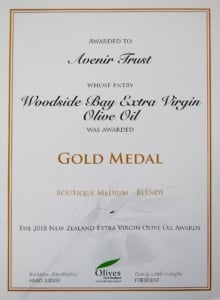 2018 NZ Extra Virgin Olive Oil Awards Gold Medal Certificate Woodside Bay Extra Virgin Olive Oil