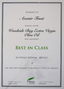 2018 NZ Extra Virgin Olive Oil Awards Best in Class Certificate Woodside Bay Extra Virgin Olive Oil