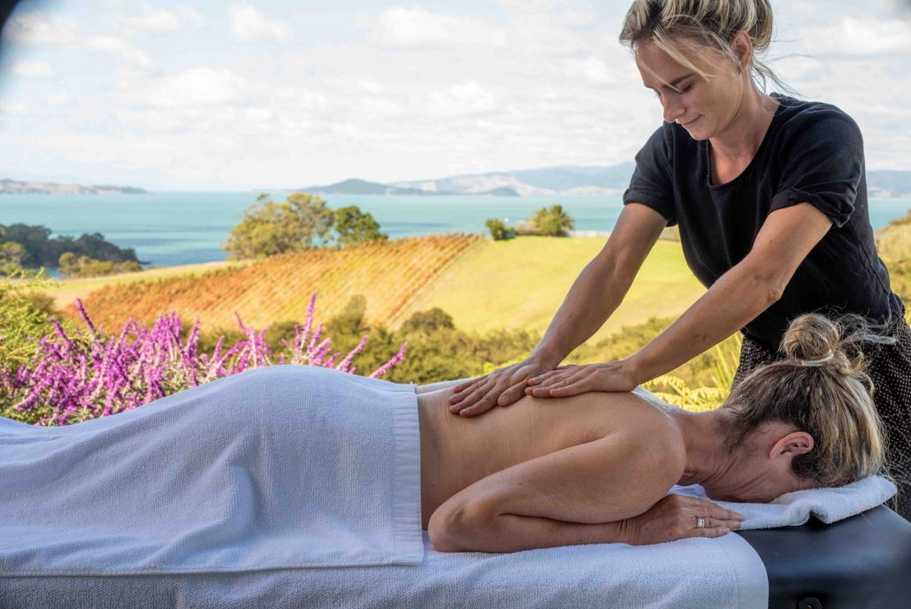 Relaxation massage on the deck of luxury accommodation Waiheke Island