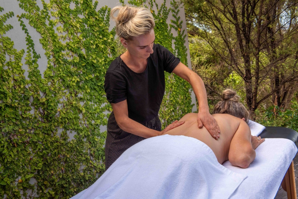Relaxation massage on the deck of luxury accommodation green room Waiheke Island