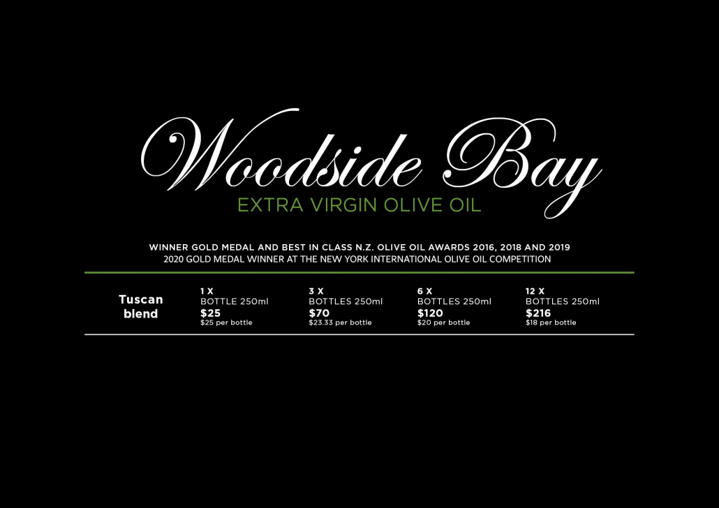 Price List for Award Winning olive oil from Woodside Bay Waiheke Island