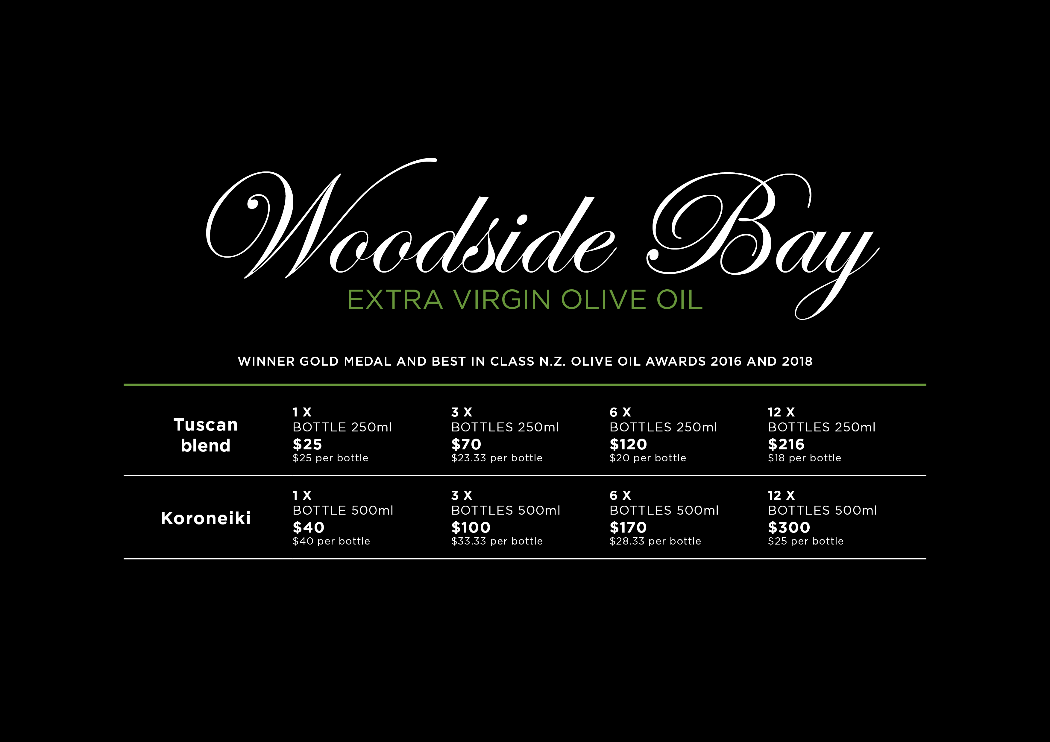 Woodside Bay Extra Virgin Olive Oil Price List September 2019