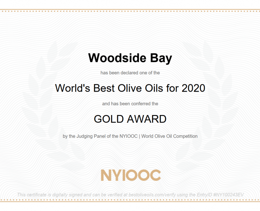 Worlds Best Olive Oils for 2020 Gold Award for Woodside Bay Waiheke Island